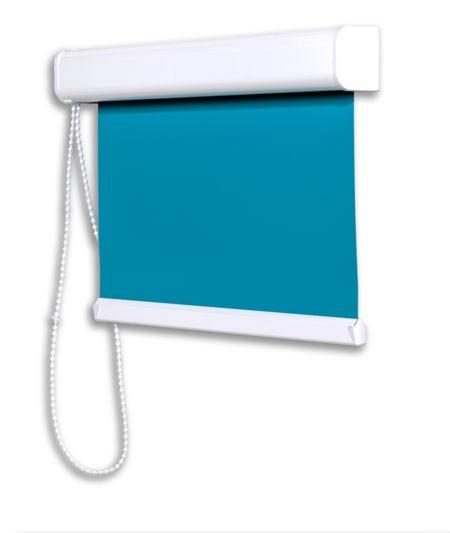 Glasleisten Rollo blau (Slim Rollo) mit Kettenzug